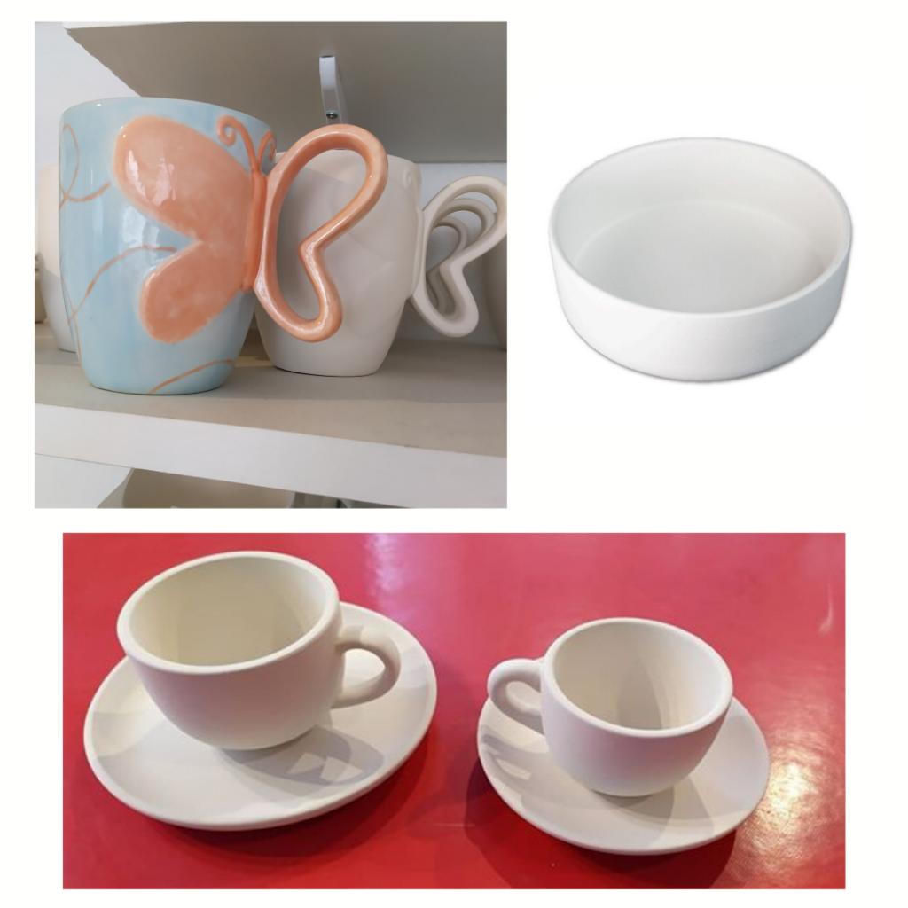 Faïences pour kits à peindre offerts par Cwtch Atelier Céramique